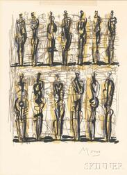 Henry Moore (British, 1898-1986)      Thirteen Standing Figures
