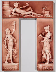 Three American Encaustic Tile Co. Tiles of Women and Bacchus