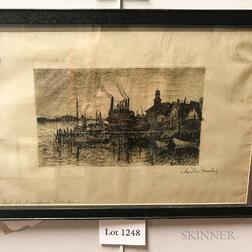 Framed Charles Frederick Mielatz (Rhode Island, 1864-1919) Etching of Newport Harbor