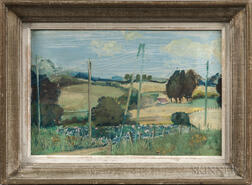 European School, 20th Century      Summer Landscape with Foreground Telephone Lines