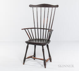 Black-painted Bamboo-turned Fan-back Windsor Armchair