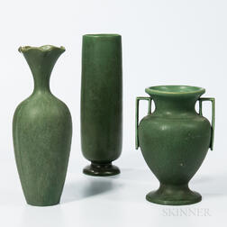 One J.S. Taft and Two Hampshire Tall Pottery Vases