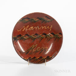 "Slip-decorated ""Nanny Men"" Redware Plate"