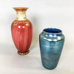 "Loetz ""Carneol"" Vase and a Loetz Iridescent Vase"
