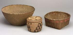Three Baskets, a lidded basket made by the Rotse people of Gambia, Africa; a Northeast two-color splint basket; and a large African (?)
