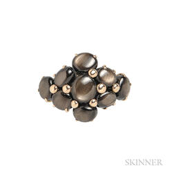 14kt Gold and Black Star Sapphire Cluster Ring