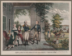 Three Marquis de Lafayette Prints and a Three-volume Set of Books