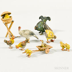Eight Miniature Cold-painted Bronze Birds
