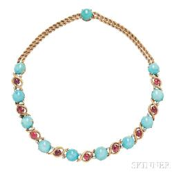 Gold, Turquoise, and Spinel Necklace