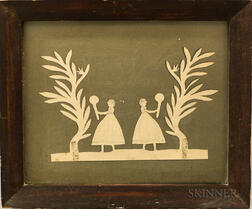 Framed Cutwork Picture of Two Girls Playing Tennis
