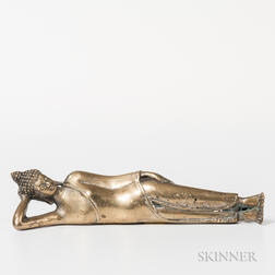Brass Figure of Reclining Buddha