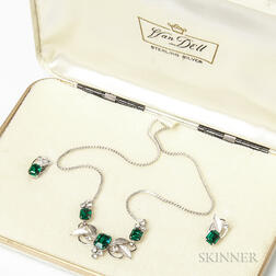 Van Dell Sterling Silver and Faux Emerald Necklace and Earstuds