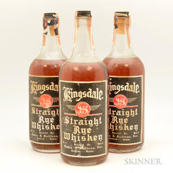 Kingsdale Straight Rye Whiskey 4 Years Old, 3 quart bottles