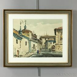 Continental/American School, 20th Century      Three Framed Watercolors: Madrid, Travesia del Almendro ,  Iris