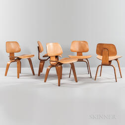 Five Ray and Charles Eames for Herman Miller Dining Chair Wood (DCW) Chairs