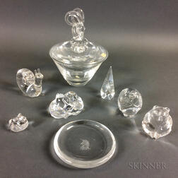Eight Pieces of Steuben Crystal