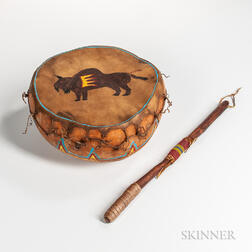 Sioux Gourd Drum and Stick
