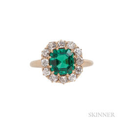 Fine Antique Emerald and Diamond Ring