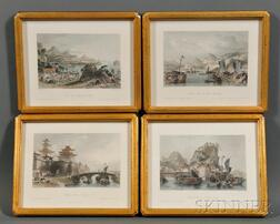 Four Printed Book Plates with Chinese Scenes
