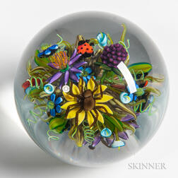 Ken Rosenfeld Flowers with Ladybugs and Spiders Paperweight