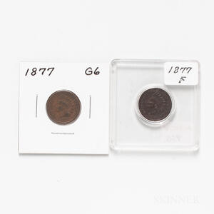 Two 1877 Indian Head Cents