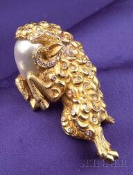 18kt Gold, Baroque Pearl and Diamond Brooch, Enrico Serafini, Florence