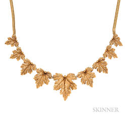 14kt Gold and Diamond Leaf Necklace