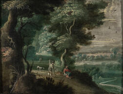 Attributed to Jasper van der Laanen (Dutch, 1575/95-1624/1644)      Wooded Landscape with Figures on a Path