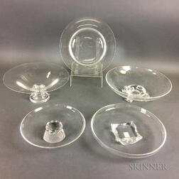 Five Steuben Crystal Serving Pieces