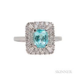 14kt White Gold, Paraiba-type Tourmaline, and Diamond Ring