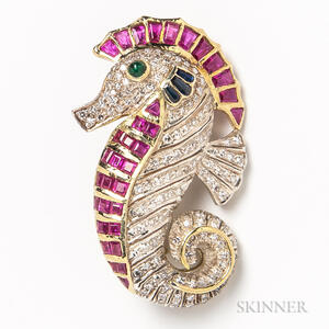 18kt Gold, Diamond, Ruby, Sapphire, and Emerald Seahorse Pendant/Brooch