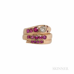Gold, Ruby, and Diamond Snake Ring