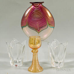 Pair of Orrefors Colorless Vases, an Abelman Art Glass Vase, and a Murano Wineglass