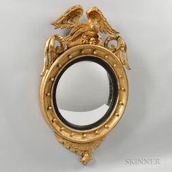 Classical Carved and Gilt-gesso Convex Mirror