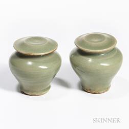 Pair of Longquan Celadon Covered Jarlets