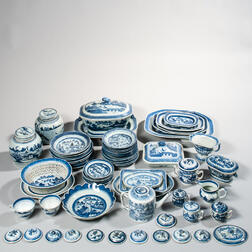 Approximately Sixty Canton Export Porcelain Table Items