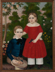 American School, Mid-19th Century      Portrait of a Brother and Sister