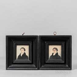 Two Watercolor Portrait Miniatures