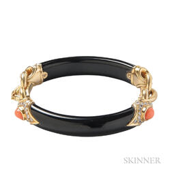 18kt Gold, Black Jade, Coral, and Diamond Bracelet