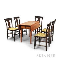 Set of Five Grain-painted Chairs and a Birch Drop-leaf Table