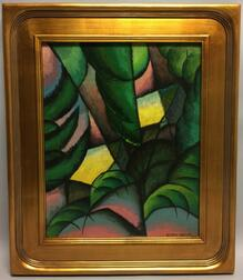 Attributed to Konrad Cramer (American/German, 1888-1963)      Cubist Abstract with Palm Fronds.