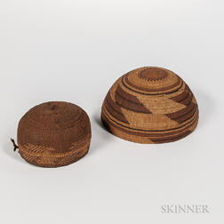 Northwest California Polychrome Basketry Hat and Bowl