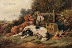 John Gifford (British, d. 1900)      Hunting Dogs and Game in a Landscape