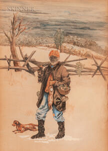 Attributed to Arthur Burdett Frost (American, 1851-1928)      African American Hunter with Dog