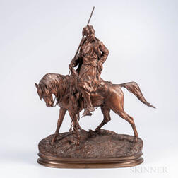 After Pierre-Jules Mêne (French, 1810-1879)    Bronze Model of a North African Hunter on Horseback