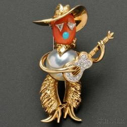 Whimsical Gold Gem-set Figural Brooch, Cartier