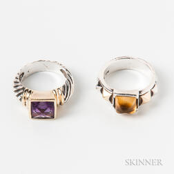 David Yurman Sterling Silver, 14kt Gold, and Amethyst Ring and a Sterling Silver, 18kt Gold, and Citrine Ring