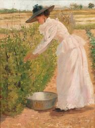 Attributed to Charles Frederick Naegele (American, 1857-1944)      Picking Berries