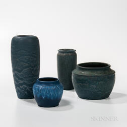 Four Hampshire Pottery Vases