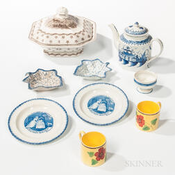 Nine Early English Ceramic Table Items